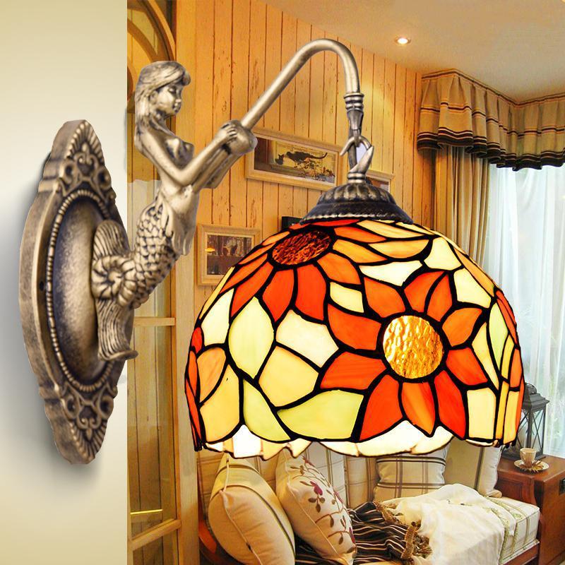 цены на shopcase wall mounted Mermaid lamp Retro Tiffany Pastoral glass wall light Bedroom dining Room Mirror LED Wall sconce Arandela в интернет-магазинах