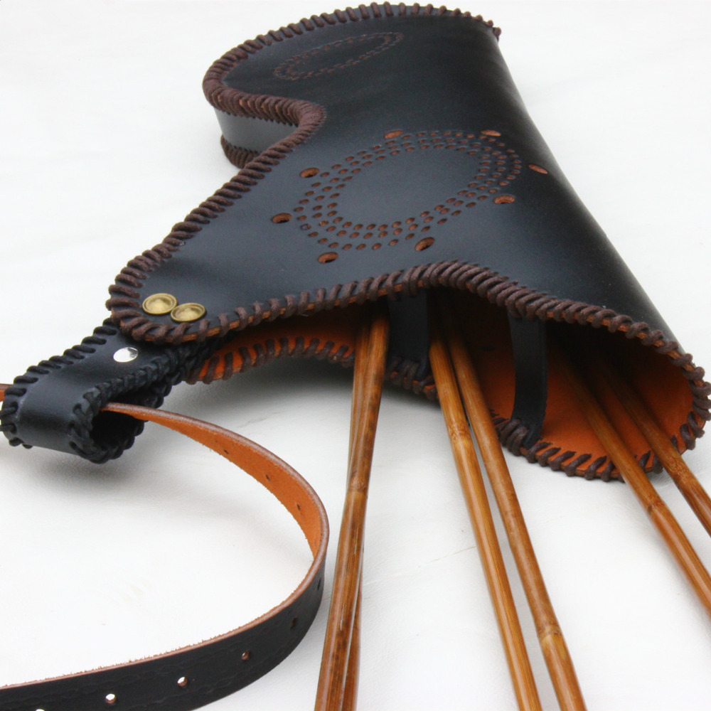3mm Genuine Cowhide Bow Arrow Quiver Shooting Hunting Bag Archery Leather Quiver for Arrows Holder Bow Arrows Case Bag Accessor