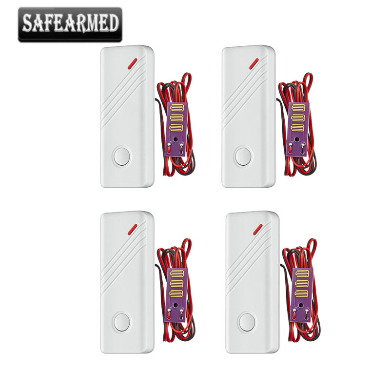 4pcs Newest Water Leak Alarm Detector Wireless Water Intrusion Leakage Sensor Detector work with Our GSM PSTN Home Alarm System water leak alarm wired water leakage detector system water pipe leak detection