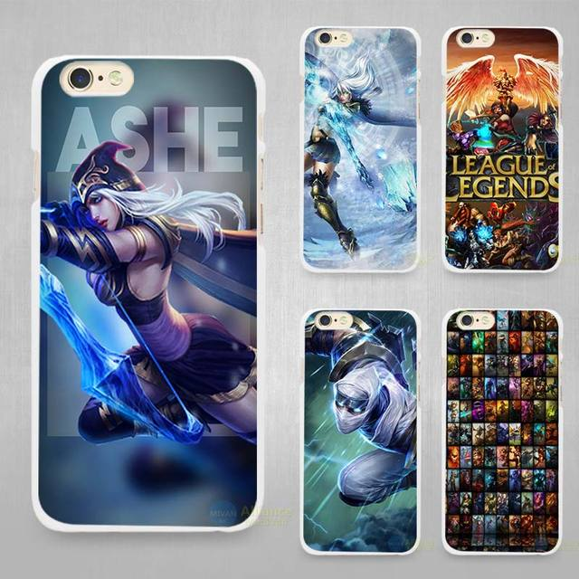 sports shoes 60df4 eec93 US $1.7 43% OFF|League Legends lol Ashe Hard White Cell Phone Case Cover  for Apple iPhone 4 4s 5 5C SE 5s 6 6s 7 8 Plus X-in Half-wrapped Case from  ...