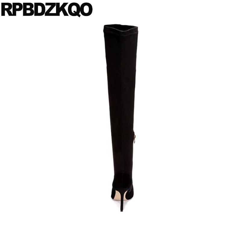 Sur En Véritable Extrême Peau Chaussures Mouton De Genou Black Fur black Mince Bottes Velours 6cm Haut 8cm Stiletto Femmes Le Daim Sexy black black Cuir 6cm Lined Pointu 10cm Cuisse 8cm black Talon 10cm Stretch Lined at55wq7