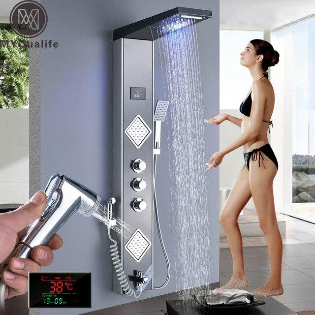 Rain Waterfall LED Shower Panel Black Shower Column Tower Digital Screen TEMP 3 Handle Mixer Tap Spray Bidet Shower Mixer Faucet