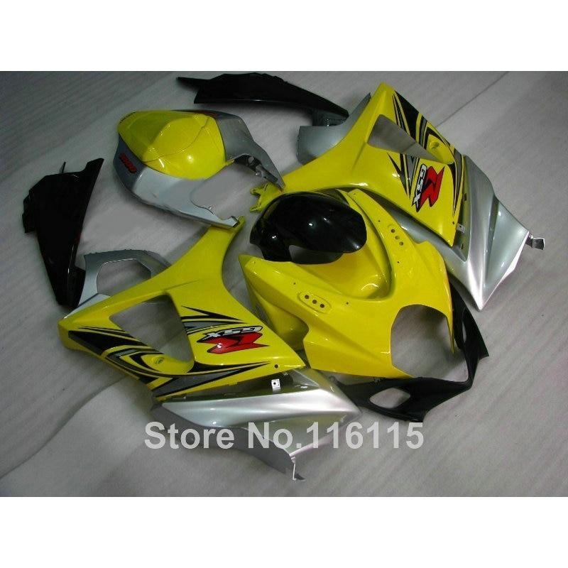 ABS Motorcycle parts for SUZUKI GSXR 1000 K7 K8 07 08 fairing kit GSXR1000 2007 2008 yellow silver black fairings set JS84