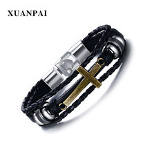XUANPAI Mens Cross Leather Bracelet Beaded Vintage Jesus Charms Bracelets Bangles Women Men Jewelry(China)