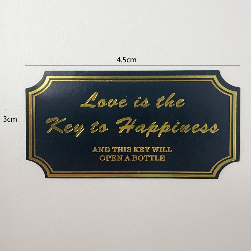 Купить с кэшбэком 80 Pcs/lot Golden Love is the key to happiness black sealing Labels rectangle Sticker For Gift baking cake packing bags