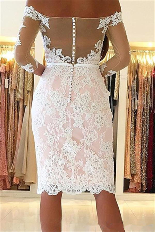 Elegant Cocktail Dresses Sheath Sleeves Lace Beaded Knee Length Short Party Homecoming Dresses