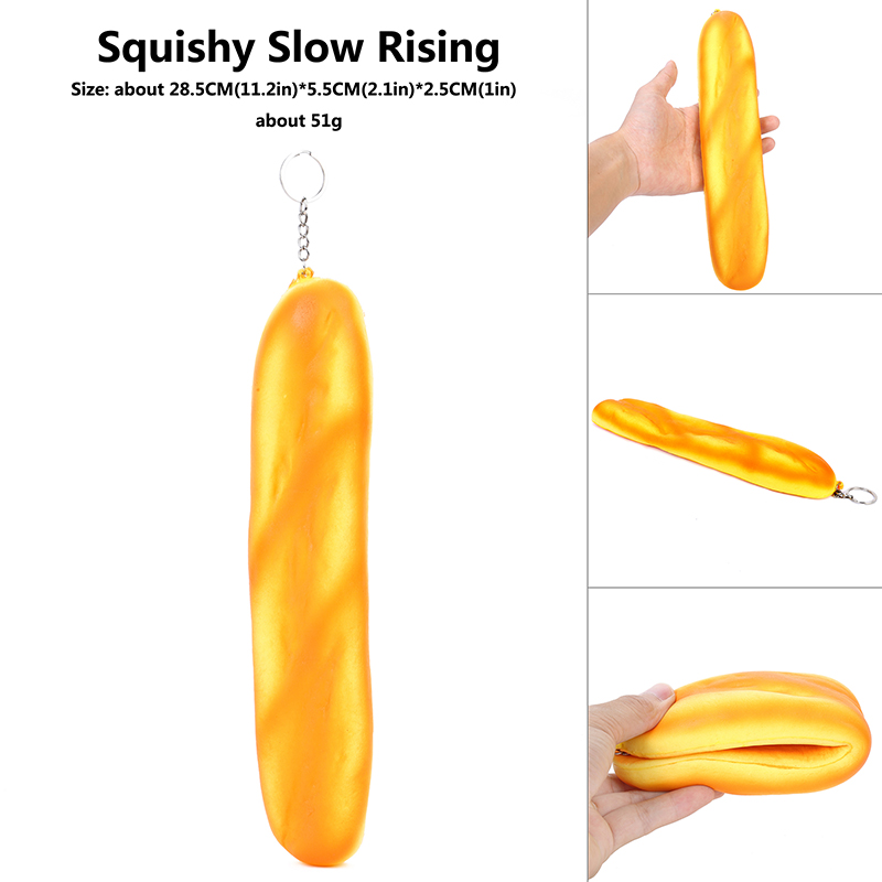 SIDANQING 29CM Pop Slow Rising Squeeze Toy Long Strip Bread Halloween Squish Pack  Anti Stress Hot Kids Doll Soft Toys For Child