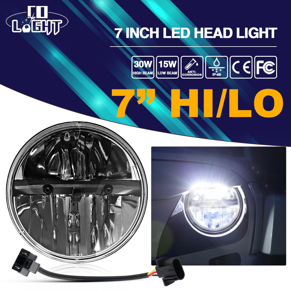 CO LIGHT 7inch Motorcycle Headlight 40/20W 6000K IP68 Round Motorcycle Led for Harley Projector Daymaker Auto Car Headlamp harley motorcycle 7 inch orange motorcycle headlight 4 5 fog daymaker hid led light bulb headlight for harley davidson