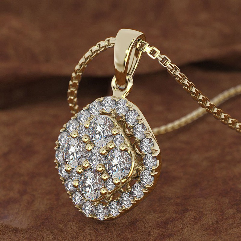2019 New Fashion Top High Quality Cubic Zirconia Round Pendant Necklace Hot Sale