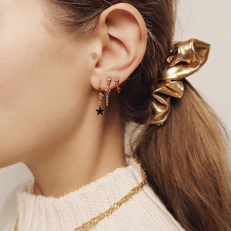 3fa714ae01239 WTLTC Gold Sliver Color Small Moon Star Hoop Earrings for Women Tiny Ear  Piercing Huggie Earrings Simple Jewelry Bijoux Brincos