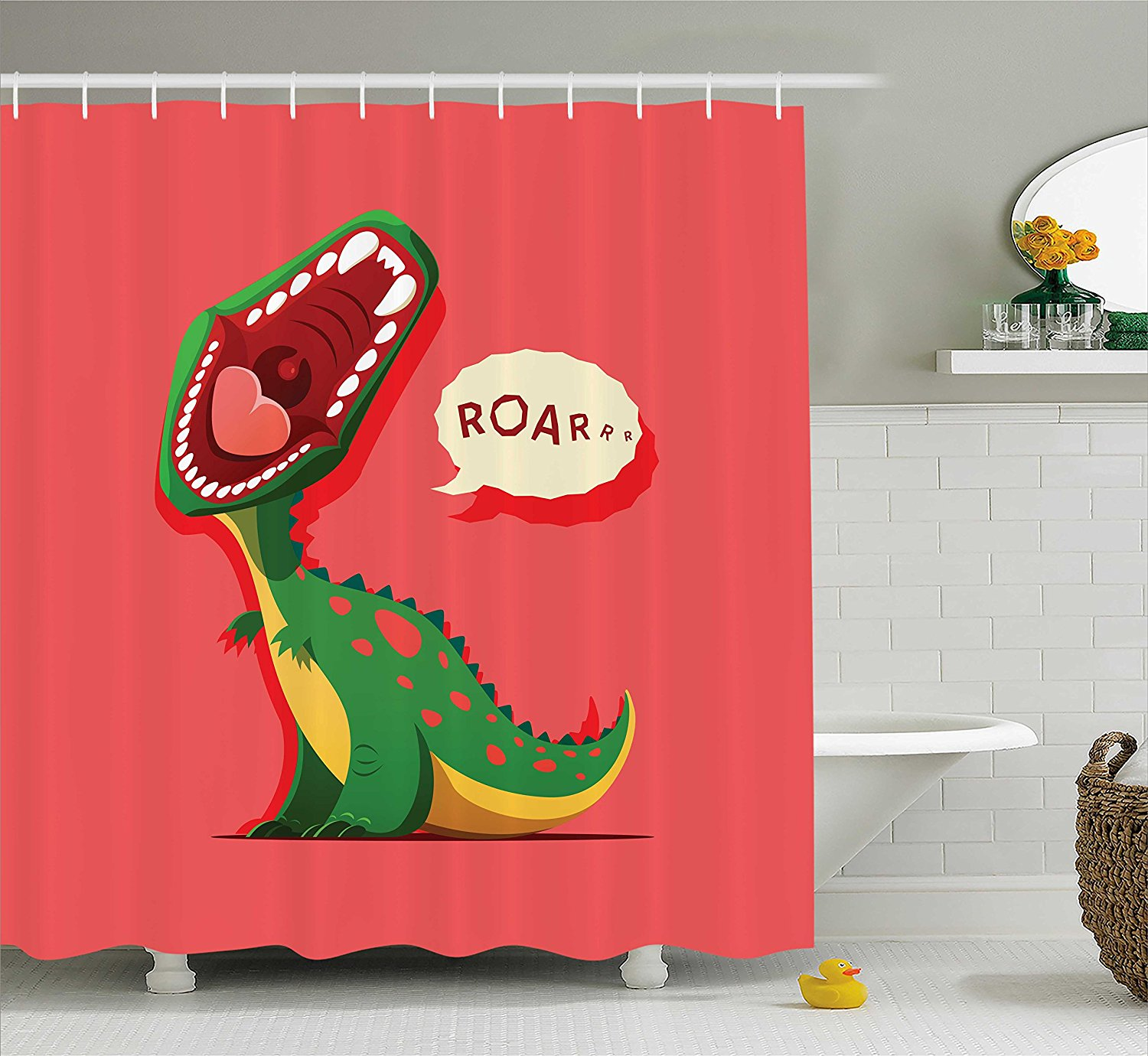 Dinosaur Shower Curtain Aggressive Prehistoric Cartoon Animal Roaring Open Mouth Wildlife Image Coral Green Yellow