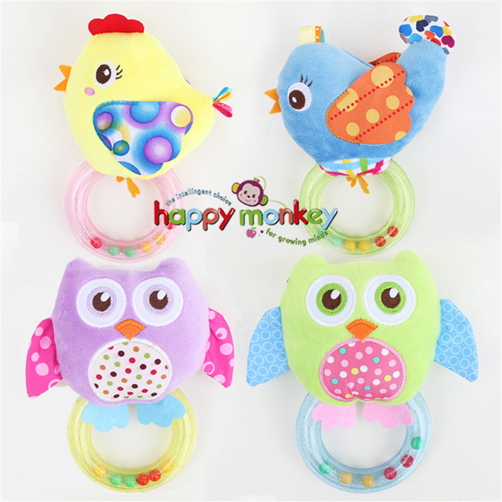 0 3 Y Baby Rattle hand Bell Toy 5 Style Owl Bird Chicken Animals Plush Happy Monkey Gift HM 3 in Baby Rattles Mobiles from Toys Hobbies