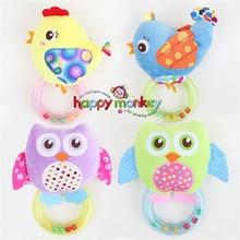 0-3 वाई बेबी रैटल हाथ बेल खिलौना 5 शैली उल्लू पक्षी चिकन पशु आलीशान मुबारक बंदर उपहार एचएम -3