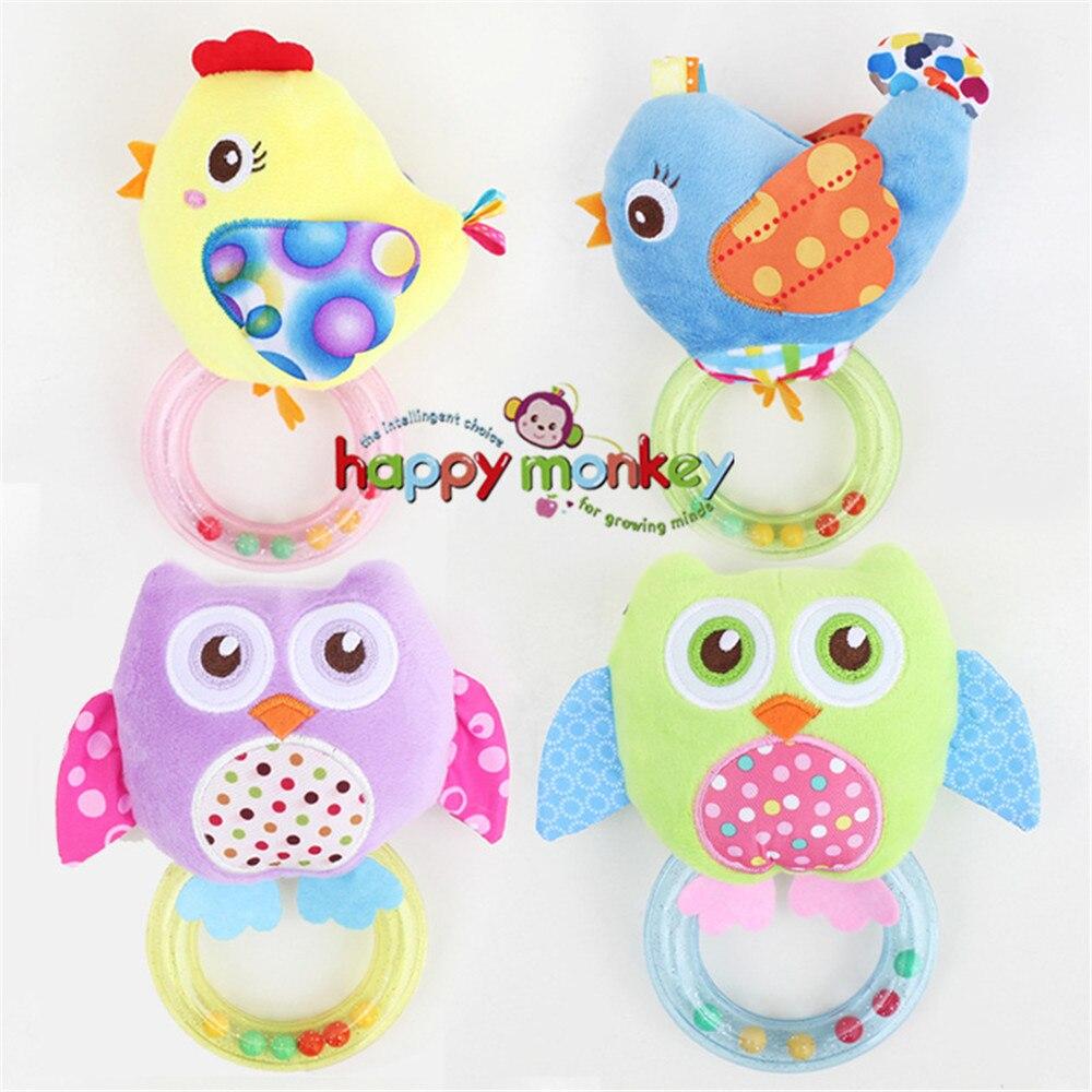 0-3 Y Babyrassel Hand Glocke Spielzeug 5 Stil Eule Vogel Huhn Tiere Plüsch Glückliche Affe Geschenk Hm-3