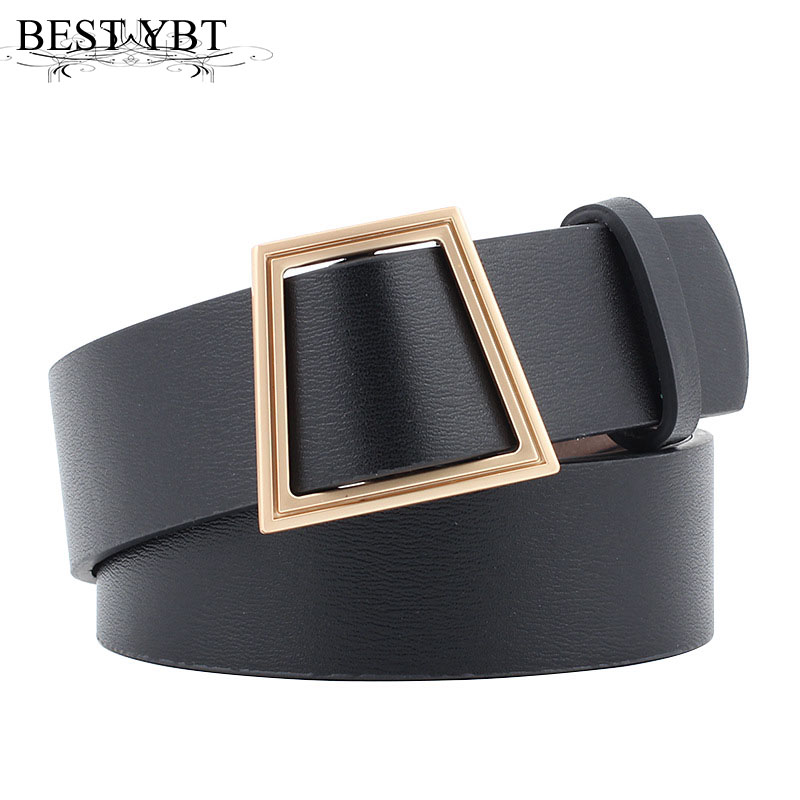 Best YBT Women Belt New Trapezoid Metal Ring Buckle Wide Waist Belt Woman Black Quality For Dress Jeans Female Waistband Belt