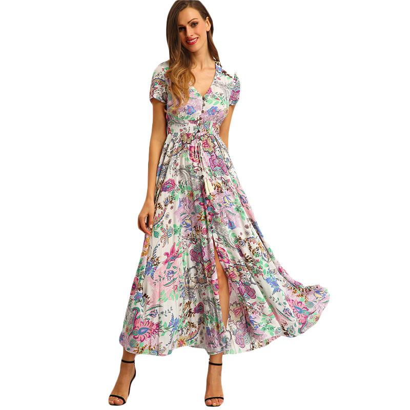 a03062fb83 SheIn Womens Summer Maxi Dresses New Arrival Ladies Boho Dress Sleeveless  Blue Halter Neck Floral Print Vintage A Line DressUSD 34.95/piece