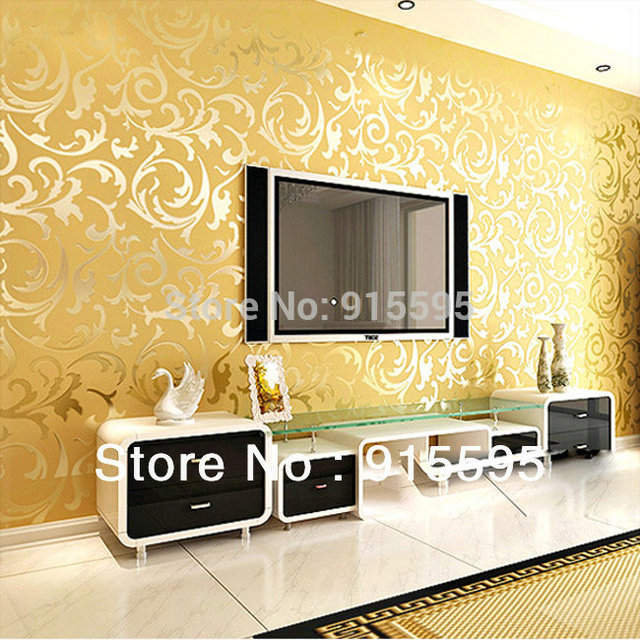 Golden Silver PVC 3D Embossed TV Background Wallpaper Mural Wall ...