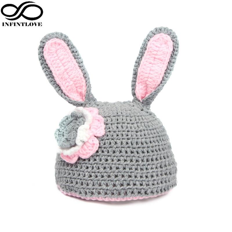 INFINITLOVE Baby Knitted Crochet Wool 100% Gray & Pink Easter Rabbit Bunny Beanie Hat  Cap Newborn -12 Months (Boys&Girls)