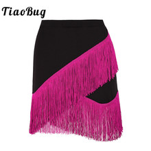 TiaoBug Women Elastic Waistband Tango Rumba Ballroom Latin Dance Skirt Adult Fringe Flowing Tassels Latin Skirt Stage Dance Wear