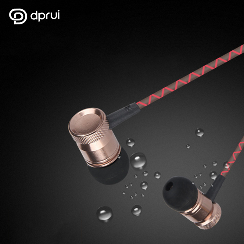 DPRUI 2018 In-ear Earphone Earbuds Wired 3.5mm Metal Heavy Bass Sound Quality sports headse for Mobile Phones Android and music