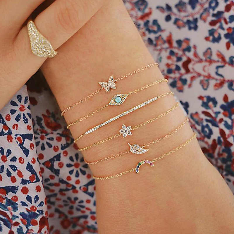 6pcs/lot Rhinestone Crystal Butterfly Leaf Moon Pendant Bracelets For Women Gold Color Chain Link Bracelet Set Wedding Jewelry