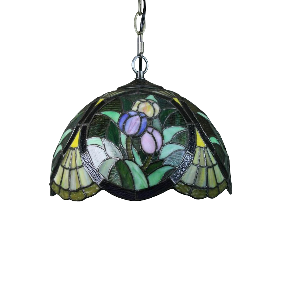 Luxury European Japanese Garden Green Flower Stained Glass Concrete Led Nordic Pendant Light Lamp Chain Hanging Kitchen Lighting european standard 25ft home garden flexible natural latex water pipe green