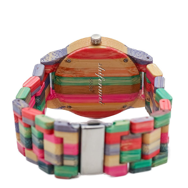 1 Pcs Women Lady Wrist Quartz Watch Wooden Bamboo Strap Round Bamboo Dial Colorful Fashion Gift LL@17 1