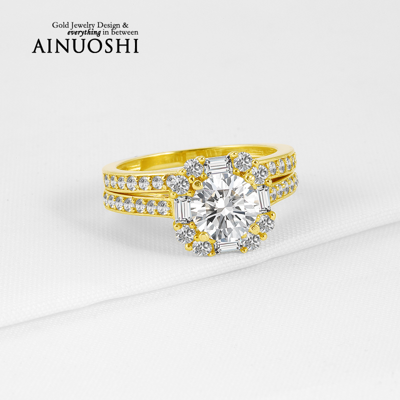 1 Carat Trendy Wedding Band Round Cut Sona Simulated Diamond Ring Sets 10K Solid Yellow Gold Bague for Women Engagement Gifts