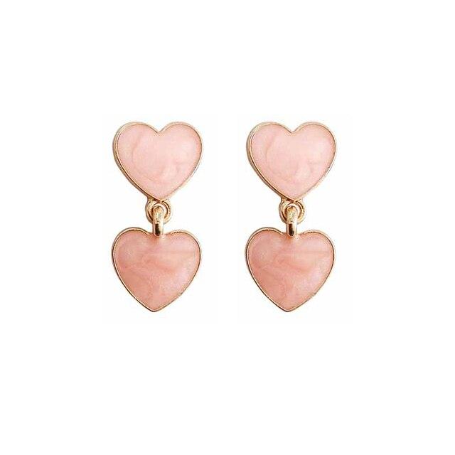 Купить женские серьги гвоздики в форме капельного сердца милые романтичные