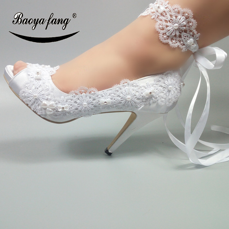 BaoYaFang 2018 Ankle strap Womens wedding shoes Peep Toe Open side fashion shoes woman High heels