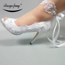 BaoYaFang 2020 com tira No Tornozelo sapatos de casamento Das Mulheres Peep Toe Aberto lado sapatos da moda mulher De salto Alto sapatos de plataforma Mulher Bombas