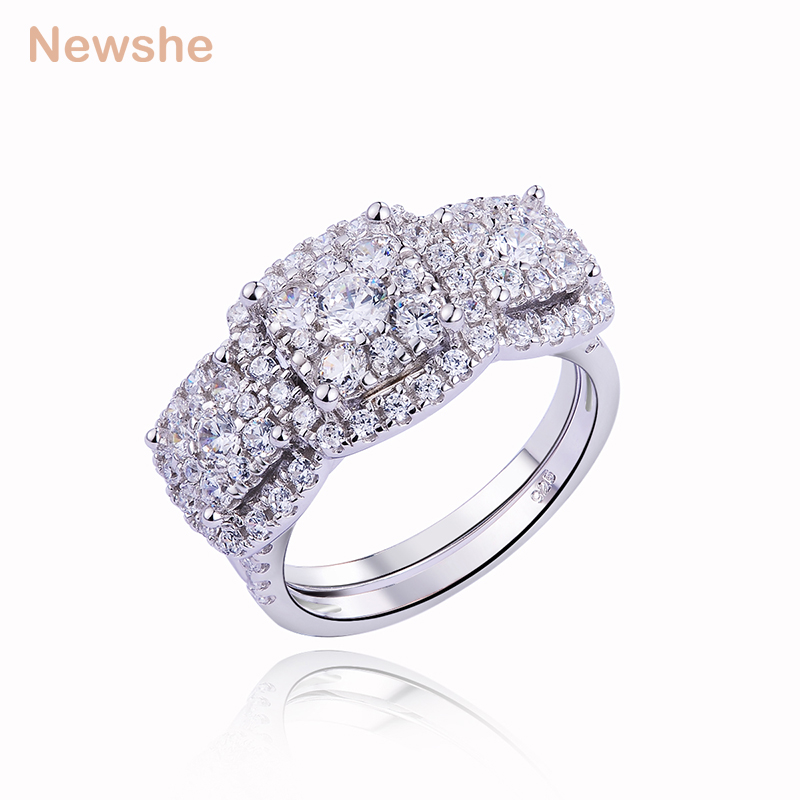 Newshe 1.6 Ct Stunning AAA CZ Solid 925 Sterling Silver For Women Wedding Ring Sets Engagement Band Luxury Jewelry JR4881 newshe pear shape blue side stones aaa cz solid 925 sterling silver wedding ring set engagement band fashion jewelry for women