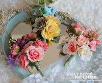 6 stks/partij! groothandel kunstmatige rose Bruidegom Boutonniere broche bruiloft Beste man corsage bloem bruiloft benodigdheden