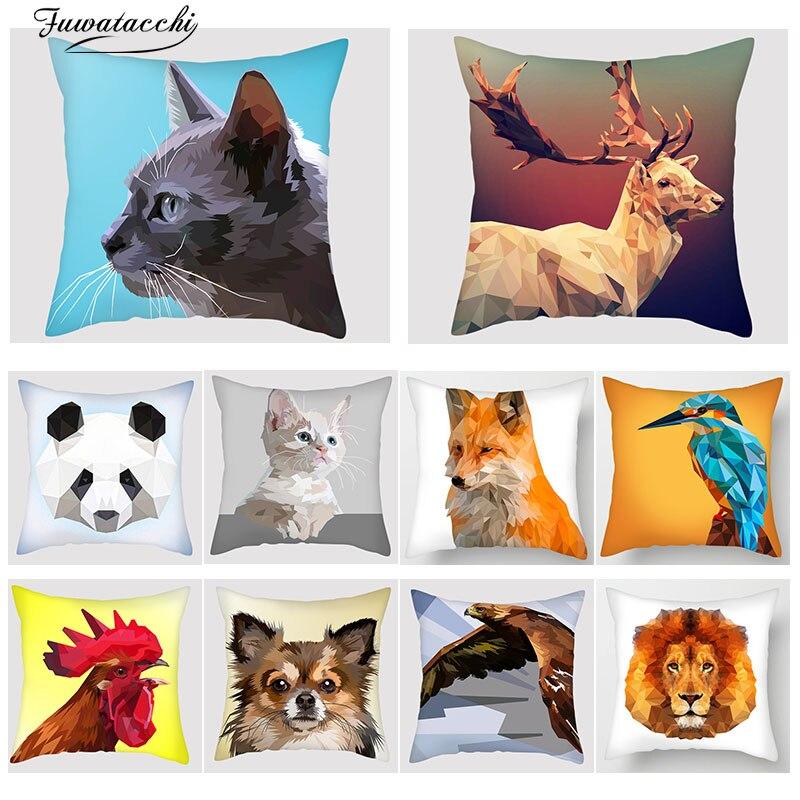 Fuwatacchi 3D Animal imprimer housse de coussin Lion renard chien coq lapin oiseau chat taie d'oreiller canapé chaise décor à la maison jeter oreillers couverture