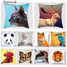 Fuwatacchi  3D Animal Print Cushion Cover Lion Fox Dog Cock Rabbit Bird Cat Pillowcase Sofa Chair Home Decor throw pillows