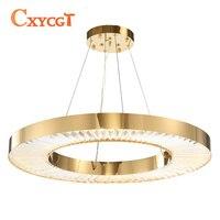 Круг светодиодный люстры для Гостиная золото современный хрустальная лампа для спальни полированная Сталь кольцо люстры де Cristal