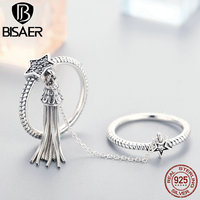 BISAER New Arrival 925 Sterling Silver Star Tassel CZ Double Layer Finger Ring For Women Fashion