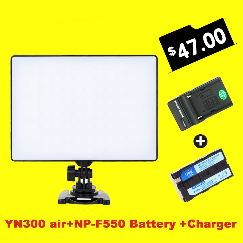 YONGNUO YN300 Air 3200k-5500k YN-300 air Pro LED Camera Video Light with NP- F550 Battery and Charger for Canon Nikon
