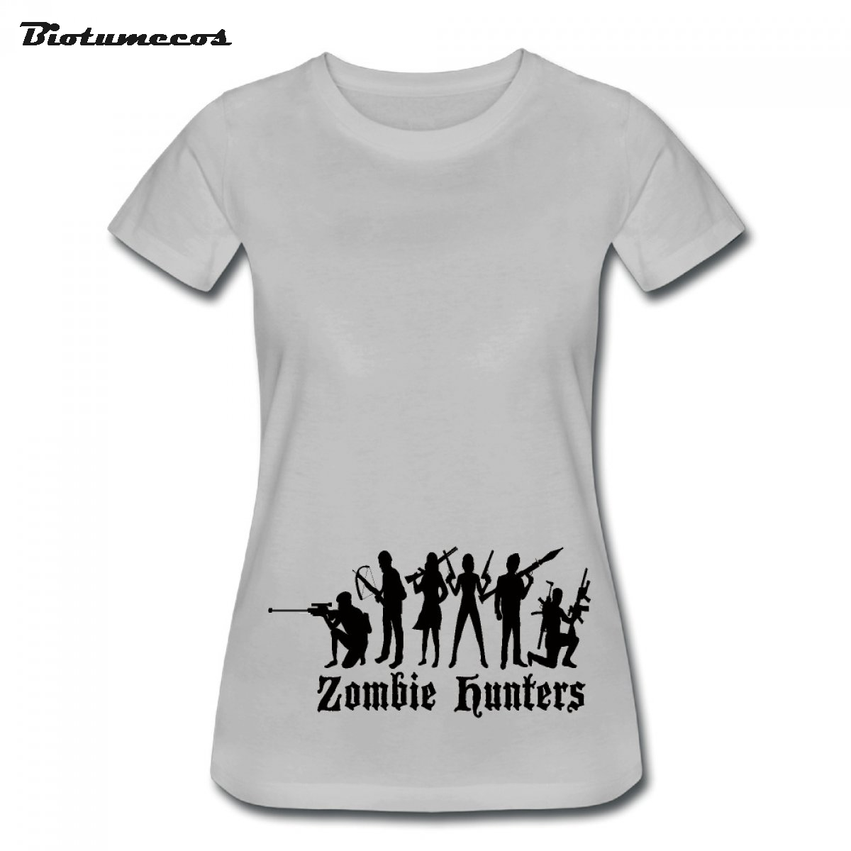 Simple Stytle Zombie Hunters Carry On Kinds Of Weapons Fight Against Zombie Printed T-shirt Brand Clothes For Girls WTWQ046