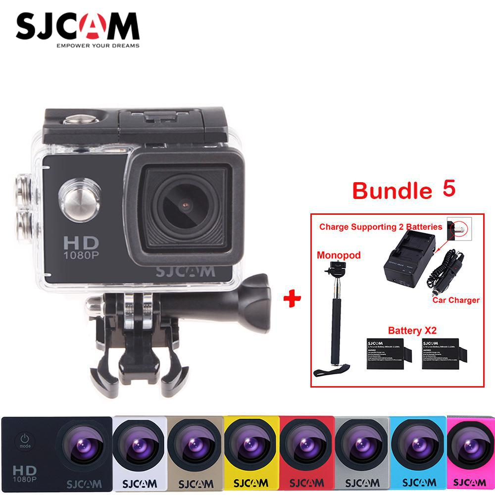 Original Sjcam SJ4000 30M Waterproof Mini Sports Action Camera Sj 4000 Cam DVR+2Battery+Dual Wall+Car Charger+Selfie Monopod 2 0 4k sjcam sj5000 series sj5000x elite wifi ntk96660 mini gyro 30 waterproof sports action camera sj cam dvr many accessories