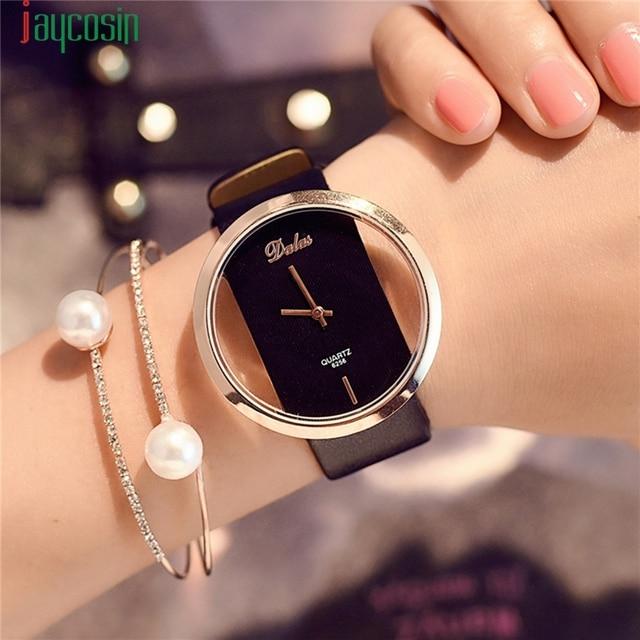 Watch Women Brand Luxury Fashion Quartz Unique Stylish Hollow Skeleton Watch Lea