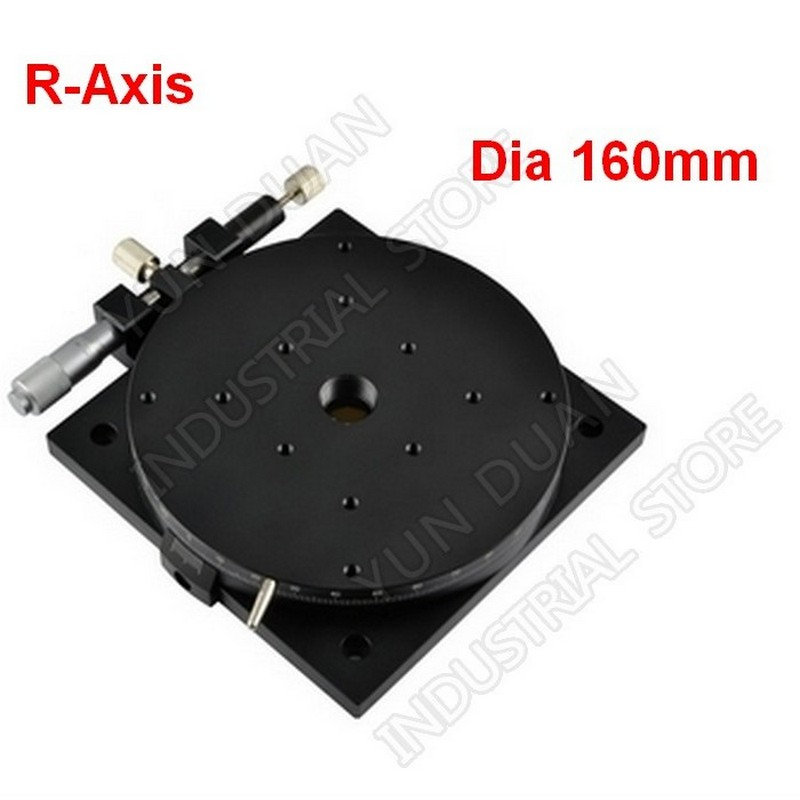 """R Axis 160MM 6"""" Manual 360 degree Heavy Load Rotary sliding table Micrometer Precision Adjust Angle Platform Optical RSPT160-L"""