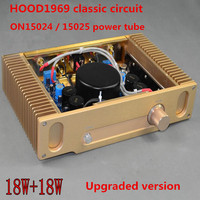 DIY 18W+18W Class A AMPLIFIER Upgraded version Hood 1969 ON 15024/15025 Gold seal power tube hi fi fever amplifier finished