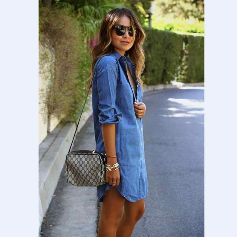 Женские рубашки, британский стиль, новые джинсы большого размера, рубашка с длинными рукавами, синяя длинная секция, Модный повседневный кардиган для женщин