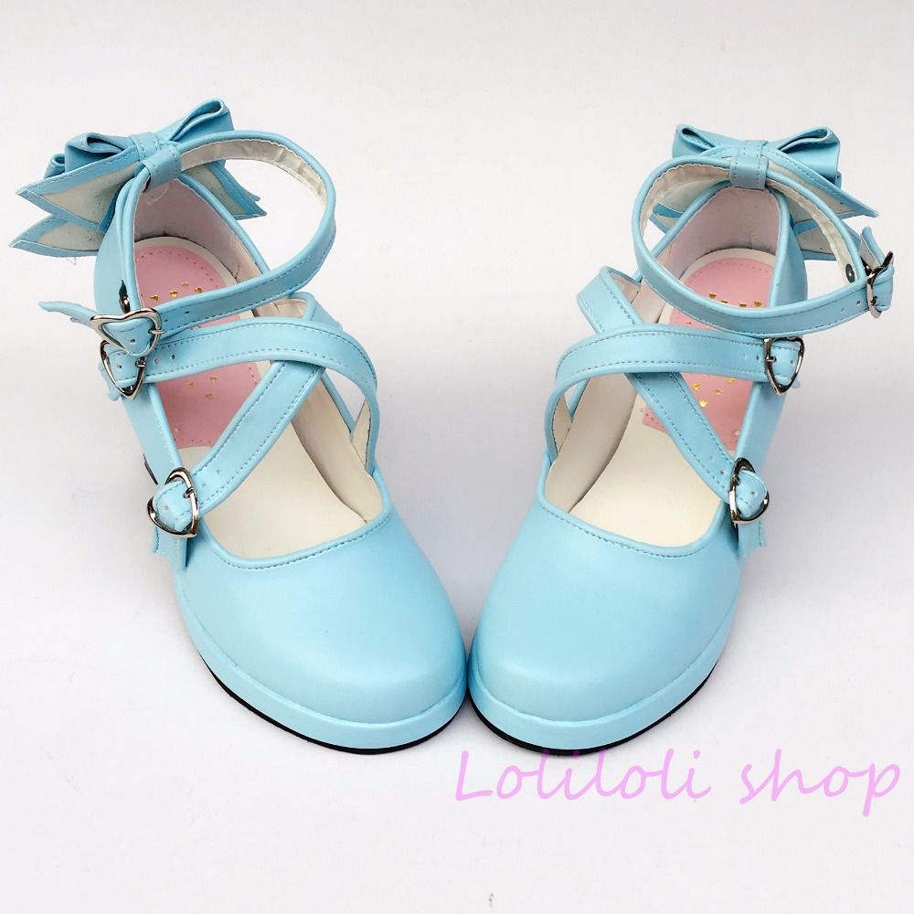 Princess sweet lolita shoes Japanese design customized special shaped shoes light blue bow tie high heel 5160 цена
