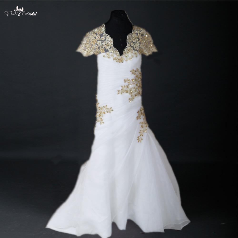 FG36 White Organza Gold Lace Mermaid Flower Girl Dress