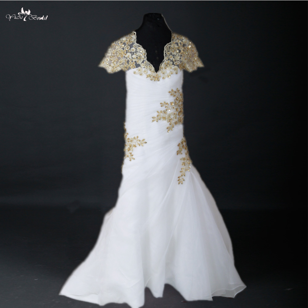 FG36 White Organza Gold Lace Mermaid   Flower     Girl     Dress