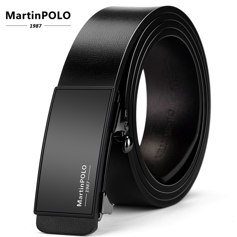 MartinPOLO Men  Genuine Leather Automatic Toothless Alloy Buckle Belt Cowhide Strap For Male Business Mens Belts MP01601P