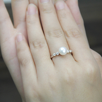 Classice Fashion Cheap Fake Diamond Rings For Women Freshwater Real Pearl Ring Sterling Silver Open Class