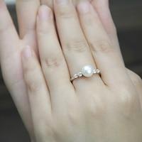クラシックファッション安い婚約指輪女性のため、淡水本物の真珠のリング、オープンクラスリング用親友